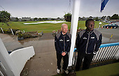 ICC Intercontinental Cup - Scotland V Netherlands at Mannofield (Aberdeenshire CC) Aberdeen - Day 1 - match Umpires Neils Bagh (left - Denmark) and Peter Nero (Trinidad) take a view of the ground with the covers on and persistant rain falling for most of the day - Picture by Donald MacLeod - 21.06.11 - 07702 319 738 - www.donald-macleod.com - clanmacleod@btinternet.com