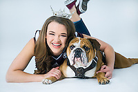 Miss Mississippi State University Meredith Thomas poses with Bully, aka Jak, during a recent photo session. Jak will be cheering on the Kosciusko senior as she competes with 51 other contestants for the title of Miss Mississippi in Vicksburg this June. Thomas is an interdisciplinary studies major with concentrations in biology, kinesiology and psychology. <br />