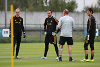 20190903 – TUBIZE , BELGIUM Belgian keepers  Arnoud Bodart, Jens Teunkens and Mile Svilar pictured during a training session of the U21 youth team of the Belgian national soccer team Red Devils , a training session as a preparation for their first game against Wales in the qualification for the European Championship round in group 9 on the road for Hungary and Slovenia in 2021, Tuesday 3rd of September 2019 at the National training grounds in Tubize , Belgium. PHOTO SPORTPIX.BE | Sevil Oktem