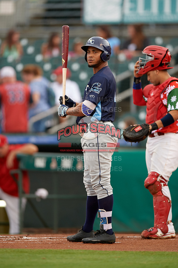 Charlotte Stone Crabs right fielder Angel Moreno (1) at bat in front of Palm Beach Cardinals catcher Jose Godoy (27) during a game against the Palm Beach Cardinals on July 22, 2017 at Roger Dean Stadium in Palm Beach, Florida.  Charlotte defeated Palm Beach 5-2.  (Mike Janes/Four Seam Images)