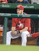 Injured Washington Nationals left fielder Bryce Harper, wearing a brace on his broken thumb, watches the game against the New York Mets at Nationals Park in Washington, DC on Friday, May 16, 2014.  The Nationals won the game 5 - 2.<br /> Credit: Ron Sachs / CNP<br /> (RESTRICTION: NO New York or New Jersey Newspapers or newspapers within a 75 mile radius of New York City)