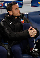 Calcio, Europa League: Ritorno degli ottavi di finale Roma vs Fiorentina. Roma, stadio Olimpico, 19 marzo 2015.<br /> Roma's Francesco Totti sits on the bench during the Europa League round of 16 second leg football match between Roma and Fiorentina at Rome's Olympic stadium, 19 March 2015.<br /> UPDATE IMAGES PRESS/Isabella Bonotto