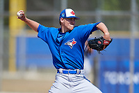 Toronto Blue Jays pitcher Josh Winckowski (39) during a Minor League Spring Training game against the New York Yankees on March 18, 2018 at Englebert Complex in Dunedin, Florida.  (Mike Janes/Four Seam Images)