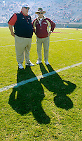 TALLAHASSEE, FL. 11/17/07-Maryland Coach Ralph Friedgen, left, talks with Florida State Coach Bobby Bowden prior to the game, Saturday at Doak Campbell Stadium in Tallahassee. COLIN HACKLEY PHOTO