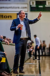 18 December 2019: University of Vermont Catamount Meghan and Robert Cioffi Men's Basketball Head Coach John Becker, calls out instructions during second half action against the UNC Greensboro Spartans at Patrick Gymnasium in Burlington, Vermont. The Spartans edged out the Catamounts 54-53 in the final minutes of play. Mandatory Credit: Ed Wolfstein Photo *** RAW (NEF) Image File Available ***