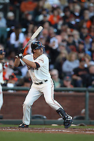 SAN FRANCISCO, CA - AUGUST 26:  Ryan Theriot #5 of the San Francisco Giants bats against the Atlanta Braves during the game at AT&T Park on Sunday, August 26, 2012 in San Francisco, California. Photo by Brad Mangin