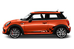Car Driver side profile view of a 2019 MINI Hardtop-2-Door John-Cooper-Works-Iconic 3 Door Hatchback Side View