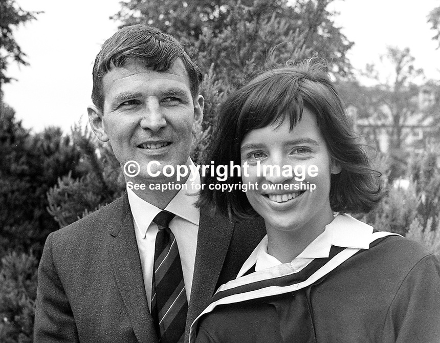 Barbara Kernohan, Belfast, who graduated in medicine from Queen's University Belfast, summer graduations, July 1967, pictured with her fiance &amp; fellow medic, Dr Sydney Lowry. They married the day after Barbara's graduation. 196607000165b<br />