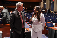 House Minority Leader Kevin McCarthy (R-Calif.) speaks to Angela Underwood Jacobs before a House Judiciary Committee hearing to discuss police brutality and racial profiling on Wednesday, June 10, 2020. Underwood Jacobs' brother David Underwood was shot during recent protests in Oakland, Calif.<br /> Credit: Greg Nash / Pool via CNP/AdMedia