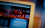 The logo of Goldman Sachs Group is seen in a laptop while the group Managements discusses Q4 2011 results at the Stock Exchange in New York, United States. 13/01/2012.  Photo by Eduardo Munoz Alvarez / VIEWpress.