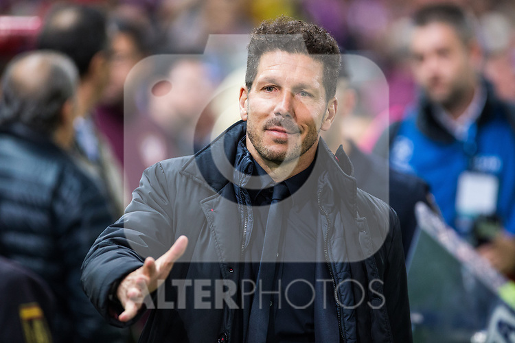 Diego Pablo Cholo Simeone coach of Atletico de Madrid during the match of Uefa Champions League between Atletico de Madrid and Bayer Leverkusen at Vicente Calderon Stadium  in Madrid, Spain. March 15, 2017. (ALTERPHOTOS / Rodrigo Jimenez)