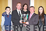 John Culloty is presented the Clubman of the Year cup by Chairman Pat Moynihan at the Legion GAA social in the Killarney Avenue Hotel on Saturday night l-r: David, John, Elma Culloty, Pat Moynihan, and Jane Culloty..
