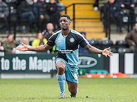 Anthony Stewart of Wycombe Wanderers pleads innocence to the Referee during the Sky Bet League 2 match between Notts County and Wycombe Wanderers at Meadow Lane, Nottingham, England on 28 March 2016. Photo by Andy Rowland.