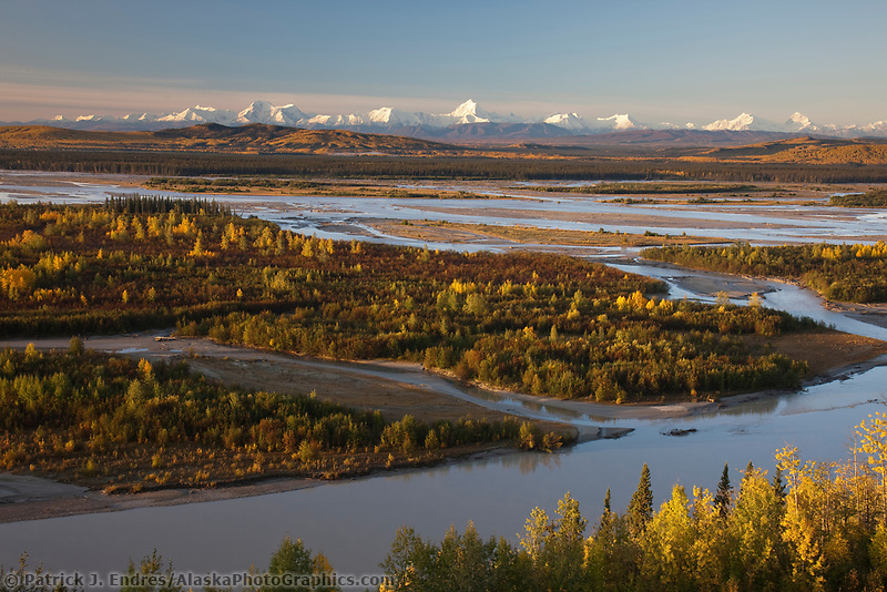 Prominent peaks in the Alaska Range mountains, Moffit, Hayes, Hess, Deborah (left to right) Tanana River in the foreground, Interior, Alaska.