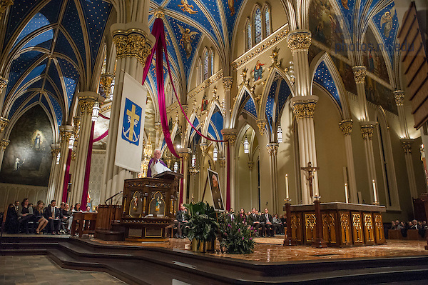 """Mar. 3, 2015; President Emeritus Rev. Edward """"Monk"""" Malloy, C.S.C. reflects on the life of President Emeritus Rev. Theodore M. Hesburgh at the wake service in the Basilica of the Sacred Heart. (Photo by Barbara Johnston/University of Notre Dame)"""