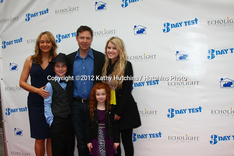 """LOS ANGELES - DEC 8:  Megyn Price, Aidan Potter, George Newbern, Francesca Capaldi, Taylor Spreitler arrives to the '3 Day Test"""" Screening at Downtown Indpendent Theater on December 8, 2012 in Los Angeles, CA"""
