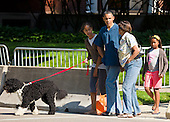 United States President Barack Obama takes a walk down the street near his home in Chicago, Illinois accompanied by his mother-in-law Marian Robinson, daughters Sasha and Malia, and the family dog Bo to the home of neighbor and First Pal Marty Nesbitt for a backyard barbecue on Saturday, May 29, 2010..Credit: Ralf-Finn Hestoft  - Pool via CNP