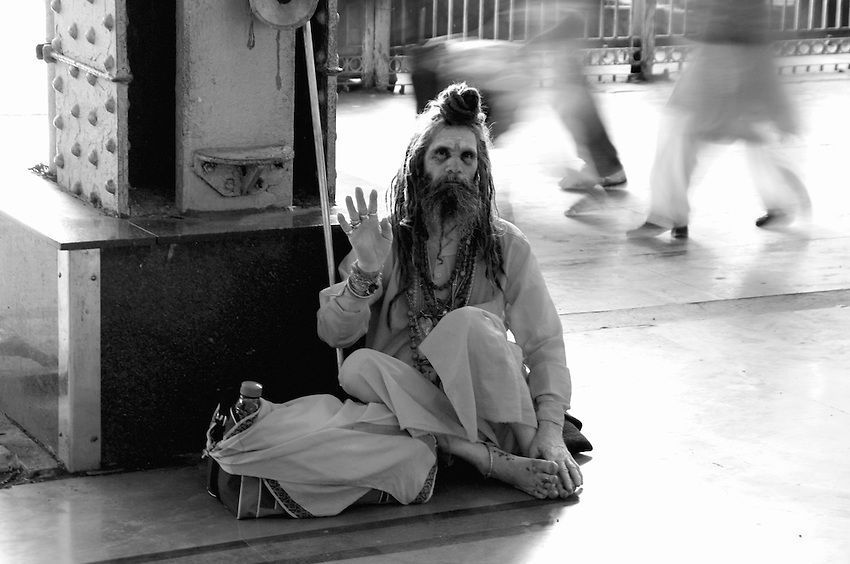 A Holy man at the central railway station in Mumbai, India
