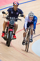 Picture by Alex Whitehead/SWpix.com - 11/10/2017 - British Cycling - Great Britain Cycling Team Sprint Practice Session - HSBC UK National Cycling Centre, Manchester, England - Jack Carlin and coach Justin Grace.