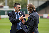 Wycombe manager Gareth Ainsworth (right) talks with match referee Lee Probert ahead of the Sky Bet League 2 match between Yeovil Town and Wycombe Wanderers at Huish Park, Yeovil, England on 8 October 2016. Photo by Mark  Hawkins / PRiME Media Images.