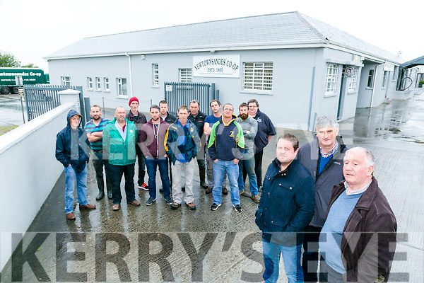 MOYVANE Farmers protest at NewtownSands Co-op on Tuesday. Pictured front l-r Kieran McGrath, Jim Nolan, Dermot Clancy Back l-r Willie Leahy, William Stack, Johnny Stack, Mike Kissane, Pat Hanrahan, John Mulvihill,  Pat Stack, Paddy Leahy, John Carmody, Kevin Stack, Micheal Ahern, JoJo Barrett