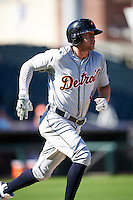 Salt River Rafters JaCoby Jones (4), of the Detroit Tigers organization, during a game against the Surprise Saguaros on October 17, 2016 at Surprise Stadium in Surprise, Arizona.  Surprise defeated Salt River 3-1.  (Mike Janes/Four Seam Images)