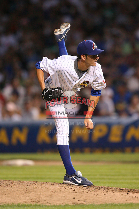 June 29, 2008: Chris Seigfried (25) of the Peoria Chiefs in the first ever MiLB game played at Wrigley Field in Chicago, IL.  Photo by: Chris Proctor/Four Seam Images