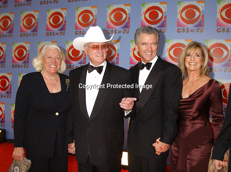 Maj and Larry Hagman, Patrick Duffy and Linda Gray                                  ..at CBS's 75th Anniversary at The Hammerstein Ballroom in ..New York City on November 2, 2003. Photo by Robin Platzer, Twin Images