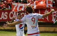 TUNJA- COLOMBIA, 03-02-2019:Fernando Aristeguieta jugador del Américade Cali celebra despuésde anotar un gol a Patriotas Boyacá. Acción de Juego entre los equipos Patriotas Boyacá y El América de Cali   durante partido por la fecha 3 de la Liga Águila I  2019 jugado en el estadio La Independencia de la ciudad de Tunja. /Fernando Aristeguieta player of America of Cali celebrates after scoring the goal agaisnt o fPatritas Boyaca.Action game between Patriotas Boyaca and America of Cali during the match for the date 3 of the Liga Aguila I 2019 played at the La Independencia stadium in Tunja city. Photo: VizzorImage / José Miguel Palencia / Contribuidor