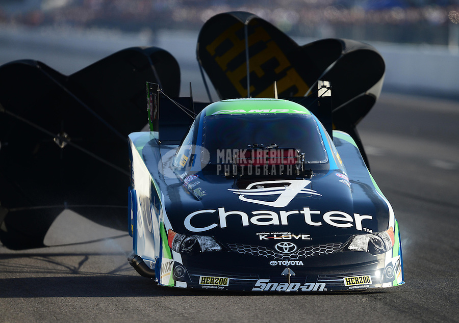 Sept. 29, 2012; Madison, IL, USA: NHRA funny car driver Tony Pedregon during qualifying for the Midwest Nationals at Gateway Motorsports Park. Mandatory Credit: Mark J. Rebilas-
