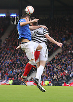 Lee McCulloch (left) and James Brough challenge for the ball in the Queen's Park v Rangers Irn-Bru Scottish League Division Three match played at Hampden Park, Glasgow on 29.12.12.