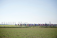 After leaving the coast, the peloton gets into the open 'Polders' where usually wind is king (but not today)<br /> <br /> 3 Days of West-Flanders 2015<br /> stage 2: Nieuwpoort - Ichtegem 184km