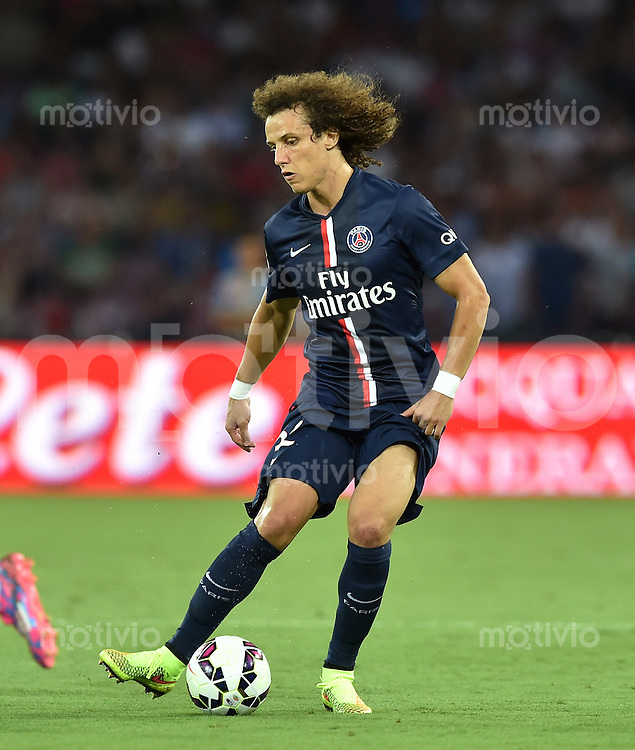 FUSSBALL INTERNATIONAL Testspiel 2014/2015 SSC Neapel - Paris Saint-Germain   11.08.2014 David Luiz (PSG) am Ball