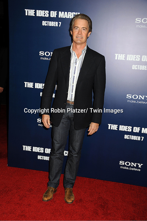 "Kyle MacLachlan attends the New York Premiere of ""The Ides of March"" ..on October 5, 2011 at The Ziegfeld Theatre in New York City. The movie stars George Clooney, Marisa Tomei, Evan Rachel Wood, Paul Giamatti, Phillip Seymour Hoffman and Jeffrey Wright."
