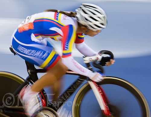 06 AUG 2012 - LONDON, GBR - Angie Gonzalez (VEN) of Venezuela  racing during the Women's Omnium 20km Points Race at the London 2012 Olympic Games track cycling at the Olympic Park Velodrome in Stratford, London, Great Britain (PHOTO (C) 2012 NIGEL FARROW)