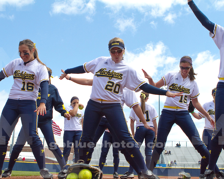 The University of Michigan women's softball team beat Louisiana-Lafayette, 4-3 (eight innings), in game one of the NCAA Super Regional at the Wilpon Complex in Ann Arbor, Mich., on May 24, 2013.