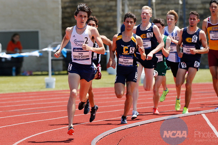 GENEVA, OH - MAY 27:  Isaac Garcia-Cassani of SUNY Geneseo leads the pack in the 1500M run during the Division III Men's and Women's Track & Field Championships held at the SPIRE Institute on May 27, 2017 in Geneva, Ohio. (Photo by Jay LaPrete/NCAA Photos/NCAA Photos via Getty Images)
