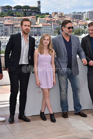 Ryan Gosling, Angourie Rice, Russell Crowe at 'The Nice Guys' photocall during the 63rd International Cannes Film Festival, France<br /> May 2010<br /> CAP/PL<br /> &copy;Phil Loftus/Capital Pictures /MediaPunch ***NORTH AND SOUTH AMERICA ONLY***