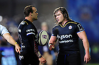 Michael van Vuuren and Nick Auterac of Bath Rugby. European Rugby Challenge Cup match, between Bath Rugby and Bristol Rugby on October 20, 2016 at the Recreation Ground in Bath, England. Photo by: Patrick Khachfe / Onside Images