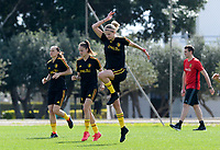 20180303 - LARNACA , CYPRUS :  Belgian Jassina Blom , Tessa Wullaert and Justine Vanhaevermaet  pictured during a Matchday -2 training from The Belgian Red Flames prior to their game against Austria , on Saturday 3 March 2018 at the Alpha Sports Grounds in Larnaca , Cyprus . This will be the third game in group B for Belgium during the Cyprus Womens Cup , a prestigious women soccer tournament as a preparation on the World Cup 2019 qualification duels. PHOTO SPORTPIX.BE | DAVID CATRY