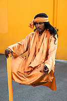 Hindu Fakir street performer doing livitation trick, Rome, Italy