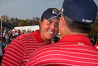 Phil Mickelson and Kenny Perry celebrate victory over Europe on the 17th green after the Singles on the Final Day of the Ryder Cup at Valhalla Golf Club, Louisville, Kentucky, USA, 21st September 2008 (Photo by Eoin Clarke/GOLFFILE)