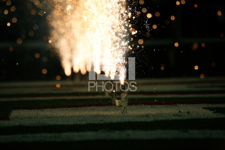 16 September 2006: Fireworks and pyrotechnics during Stanford's 37-9 loss to Navy during the grand opening of the new Stanford Stadium in Stanford, CA.