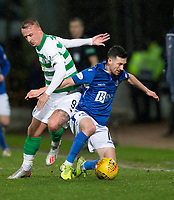 29th January 2020; McDairmid Park, Perth, Perth and Kinross, Scotland; Scottish Premiership Football, St Johnstone versus Celtic; Jason Holt of St Johnstone challenges for the ball with Leigh Griffiths of Celtic