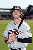 Akron RubberDucks outfielder Tyler Naquin (4) poses for a photo after a game against the Erie SeaWolves on May 18, 2014 at Jerry Uht Park in Erie, Pennsylvania.  Akron defeated Erie 2-1.  (Mike Janes/Four Seam Images)