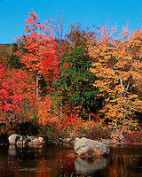 New England landscape of a pond in the White Mountain National Forest lined by trees displaying fall foliage. South Stoddard, New Hampshire.