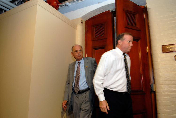 Chairman Doc Hastings leaves for a break after Tom Reynolds testified before a subcommittee of the House Ethics Committee investigating  the Mark Foley page scandal. Reynolds had said earlier that he warned Speaker Hastert this spring about then-Rep. Mark Foley.