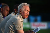 Kansas City, MO - Saturday May 28, 2016: Orlando Pride head coach Tom Sermanni watches against FC Kansas City during a regular season National Women's Soccer League (NWSL) match at Swope Soccer Village. Kansas City won 2-0.