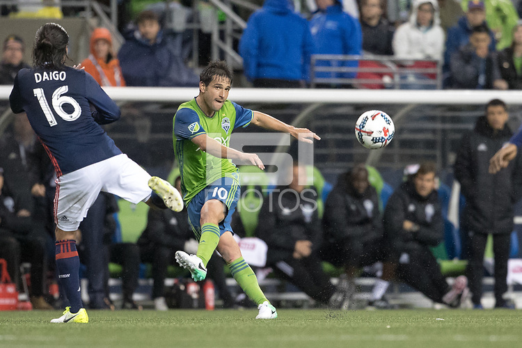 Seattle, Washington - Saturday April 29, 2017: Seattle Sounders FC vs New England Revolution. Final Score: Seattle Sounders FC 3, New England Revolution 3