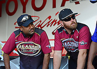 Sept. 29, 2012; Madison, IL, USA: NHRA top fuel dragster driver Khalid Albalooshi (left) with Shawn Langdon during qualifying for the Midwest Nationals at Gateway Motorsports Park. Mandatory Credit: Mark J. Rebilas-